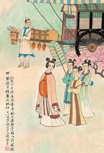 中国古代风俗百图·北朝·踏青