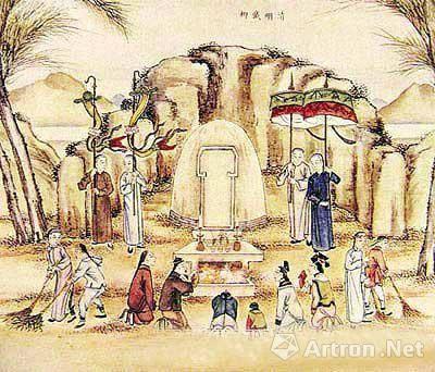清代扫墓图