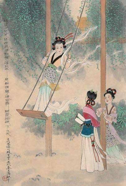 中国古代风俗百图·五代·荡秋千