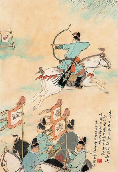 中国古代风俗百图·唐·走马射箭
