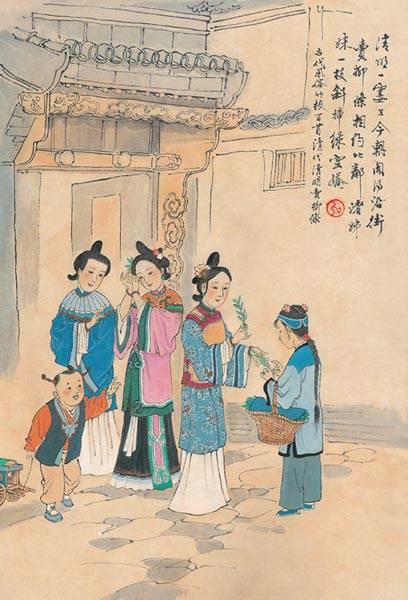 中国古代风俗百图·清·卖柳条