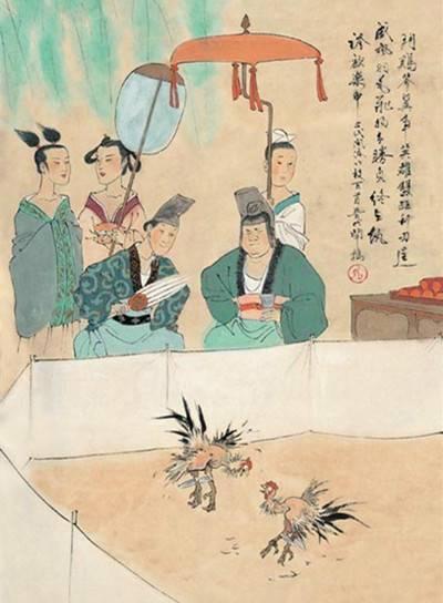中国古代风俗百图·晋·斗鸡